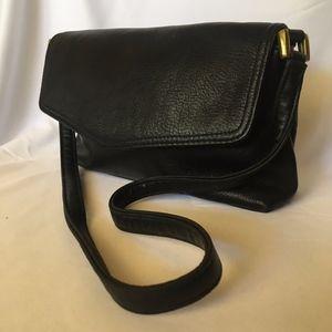 Genuine Valerie Stevens Black Leather Shoulder Bag